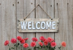 Welcome sign with row of mums by wood fence